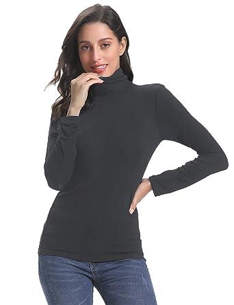 Abollria Maglia Donna Basic a Collo Alto Maglietta Leggera Pullover a  Manica Lunga Senza Maniche T-Shirts Casual per Primavera Autunno   Amazon.it  ... 9a3e69c0d0ee
