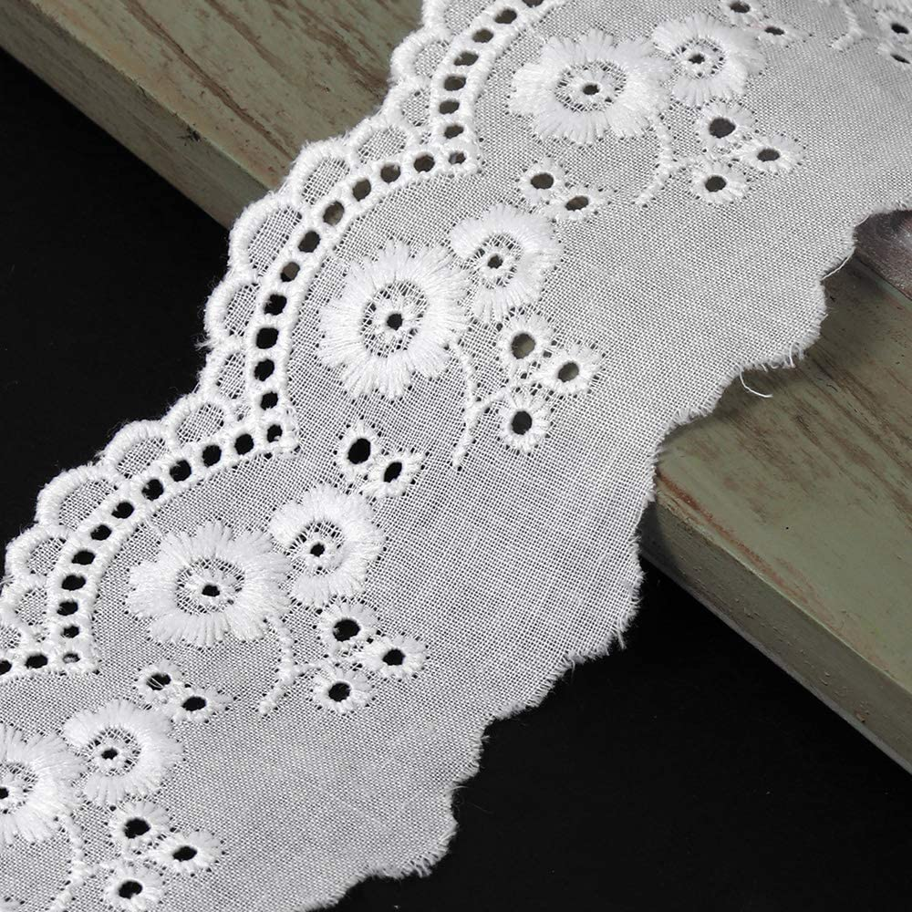 1-3//4 Embroidery English Eyelet Lace Trim by 1-Yard STEP-5303 Beige