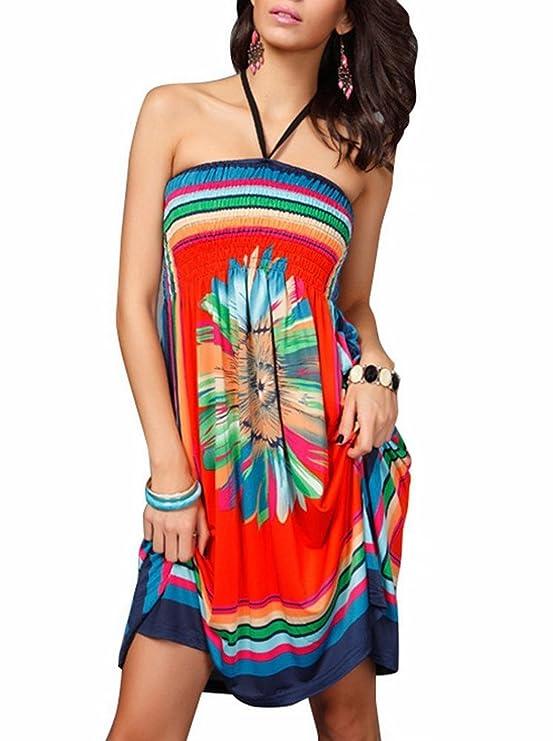 Landove Trajes de Baño Vestido De Hombro Verano de Playa Pareos para Mujer Playa Fiesta Casual Cóctel Boho Chic Vestido Sin Tirantes