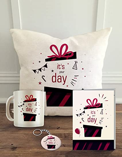 ALDIVO Happy Birthday Cushion Cover With Filler Printed Coffee Mug And Key Chain Greeting
