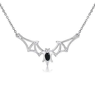 rock hv plated hover necklace vampires zoom to bat hollywood rhodium pendant vampire white alternative