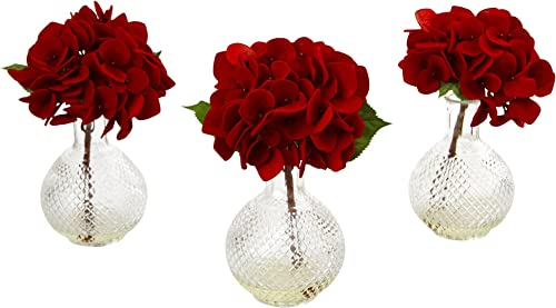 Nearly Natural Hydrangea with Glass Vase Set of 3 , Red