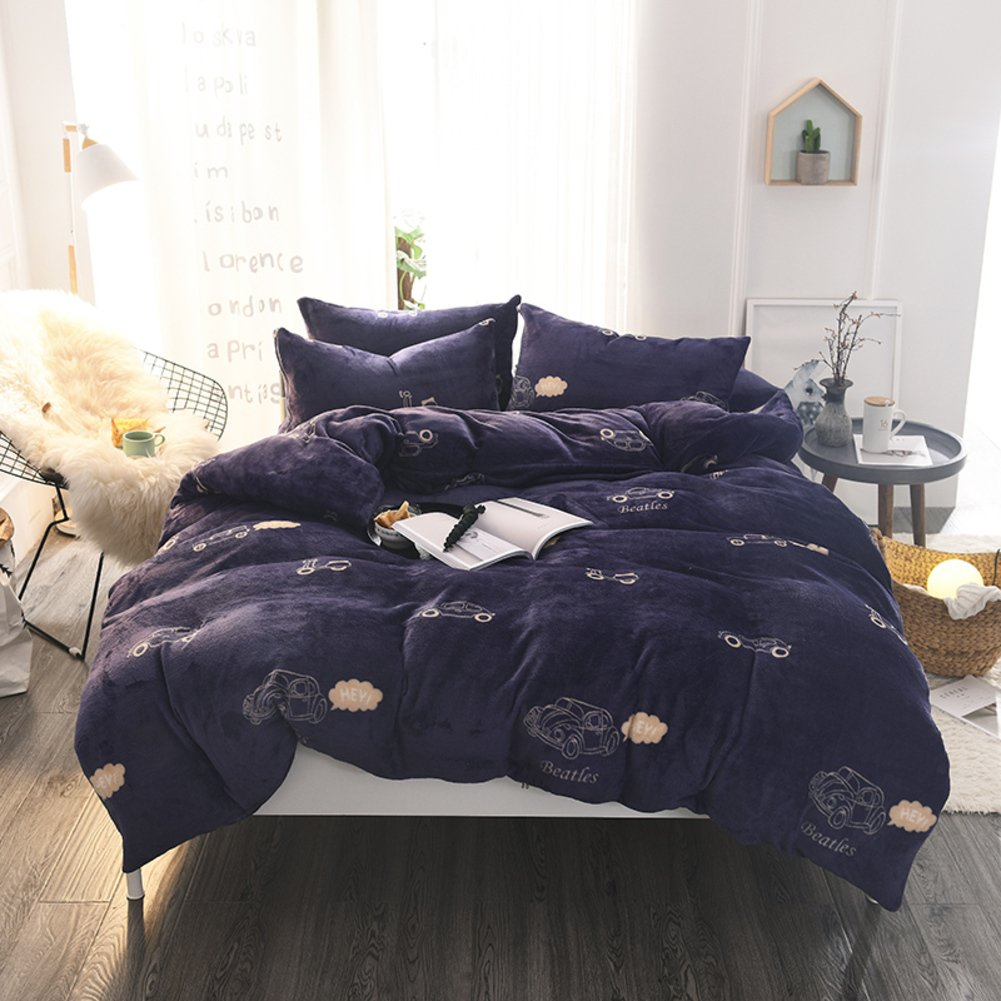 Flannel Full size bed sheets set with comforter Thicken Keep warm duplex 1 quilt cover + 1 bed sheets+ 2 pillow case-A Queen2 NBVJHFGYUGUK