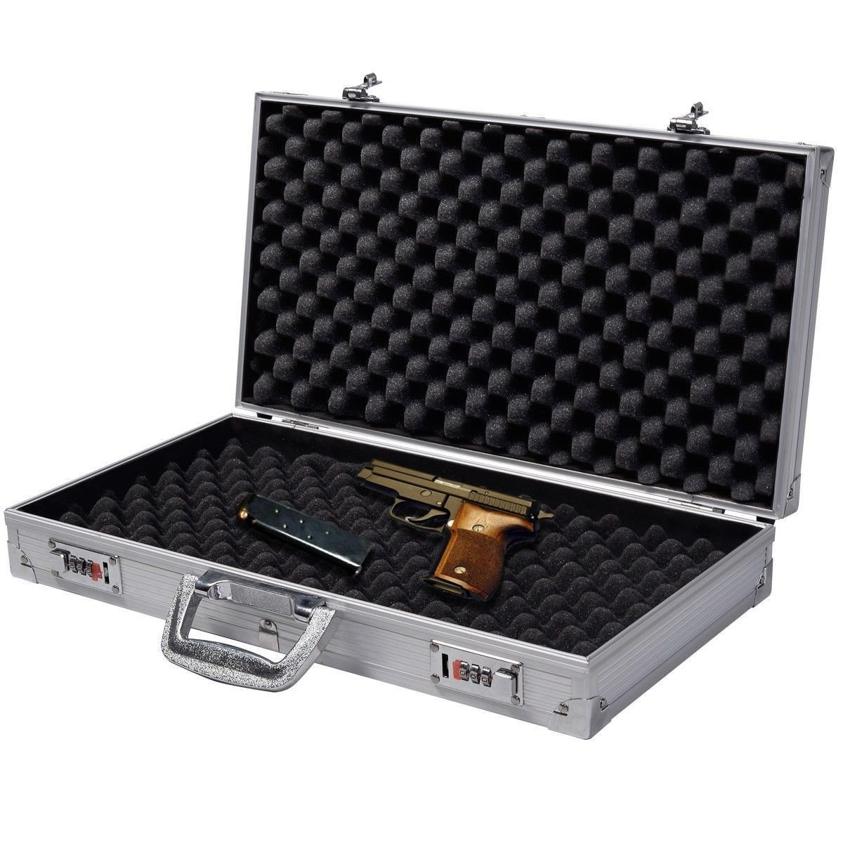Super buy 18.5'' Aluminum Framed Locking Gun Pistol HandGun Lock Box Hard Storage Carry Case