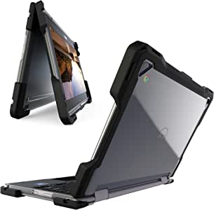UZBL Heavy Duty Hard Shell 2-Piece Full-Body Rugged Protective Clear Case with Reinforced Corner Protection, Compatible with Dell Chromebook 5190 11.6 inch 2-in-1 Laptop