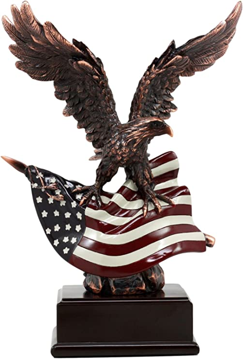 USA American Bald Eagle With Open Wings Bronze Electroplated Resin Statue Decor