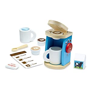 "Melissa & Doug Brew & Serve Wooden Coffee Maker Set, Play Kitchen Accessories, Encourages Imaginative Play, 12 Pieces, 10"" H x 13"" W x 4"" L"