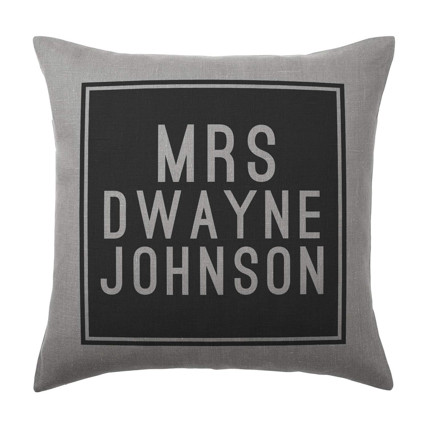 Dwayne Johnson Cushion Pillow - Silver Grey - 100% Cotton - Available with or without filling pad - 40x40cm (Cover and filling pad) The Stocking Fillers
