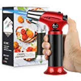 Blow Torch, Professional Kitchen Cooking Torch with Safety Lock Adjustable Flame Refillable Mini Blow Torch Lighter for BBQ, Baking, Brulee Creme, Crafts and Soldering(Butane Gas Not Included)