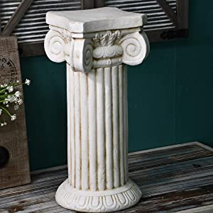 "OwMell Roman Pillar Greek Column Statue Display Pedestal Stand Figurine Sculpture, Indoor Outdoor Home Garden Decoration, 21"" Height"