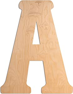UNFINISHEDWOODCO Wooden Letter Monogram Room Décor - 15 Inches Tall - Unfinished Vintage Wood Letter Large Initials for Bedroom, Wall Decor Above Baby Crib, Nursery or Teen Room - Letter A