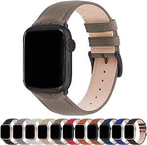Fullmosa Compatible Apple Watch Band 44mm 42mm 40mm 38mm Leather Compatible iWatch Band/Strap Compatible Apple Watch SE & Series 6 5 4 3 2 1, 42mm 44mm, Elephant Grey + Gunmetal Buckle