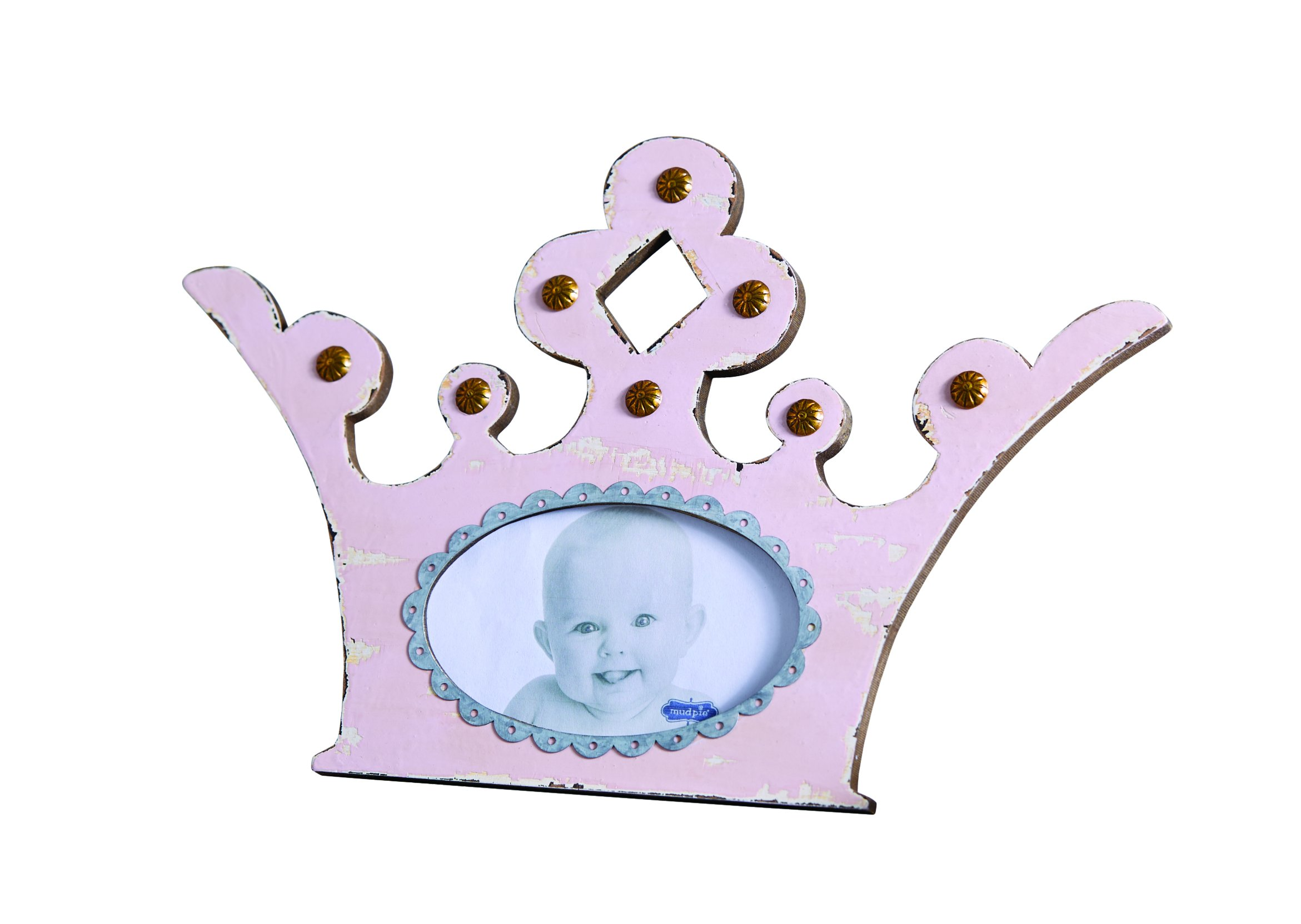 Mud Pie Distressed Wood Crown Frame, Pink, 3'' x 5''