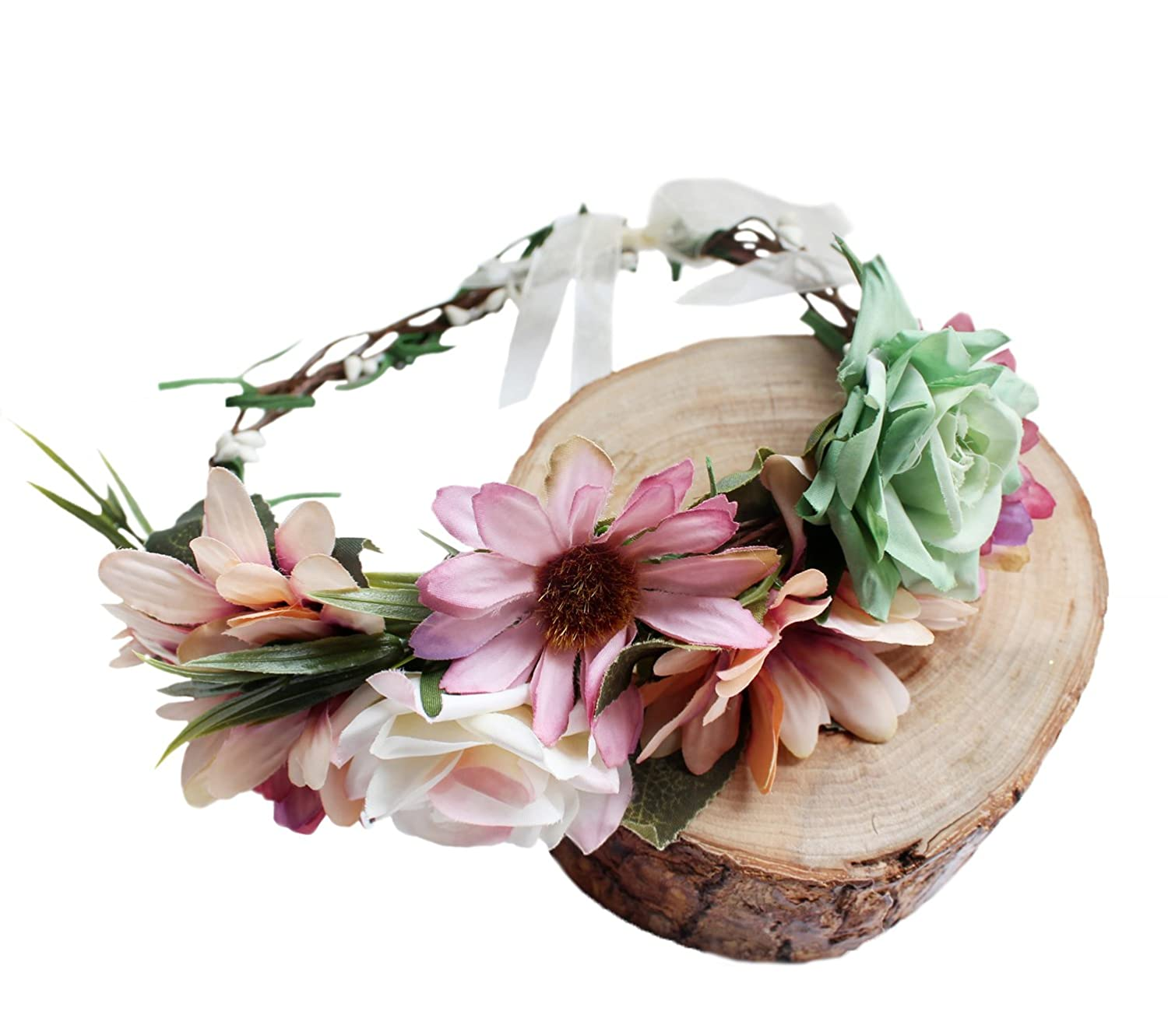 Vivivalue Handmade Flower Crown Hair Wreath Halo Floral Garland