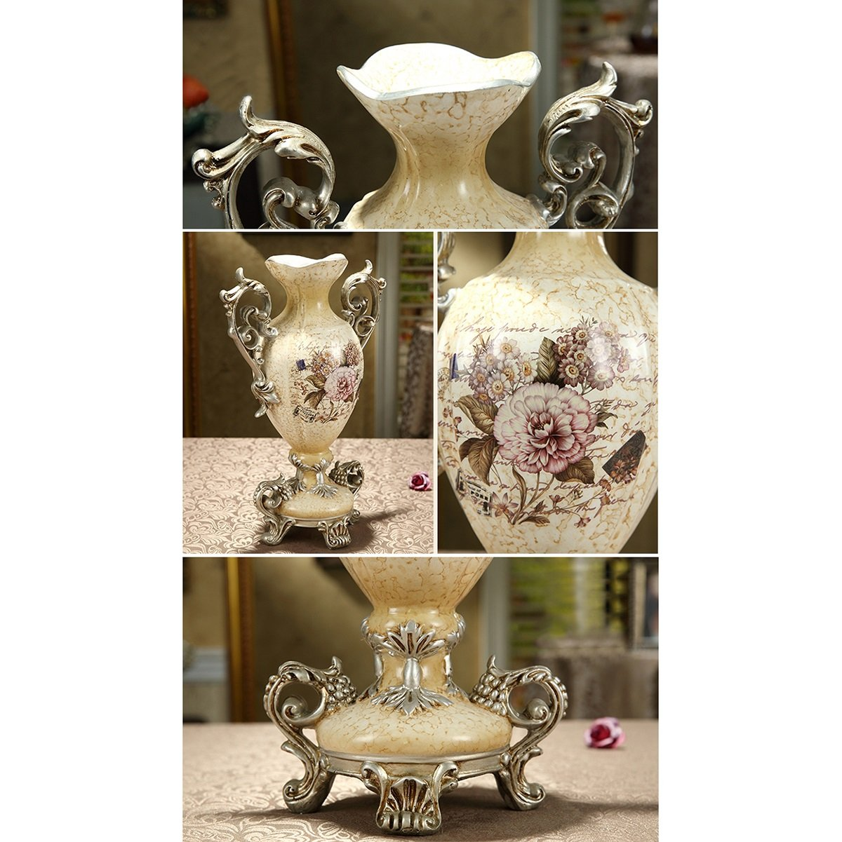 European-style Retro Resin Flowers Vase Living Room Dining Table Study Home Decoration Luxurious Creative Hand-painted Vase, Beige by The tail of July (Image #4)