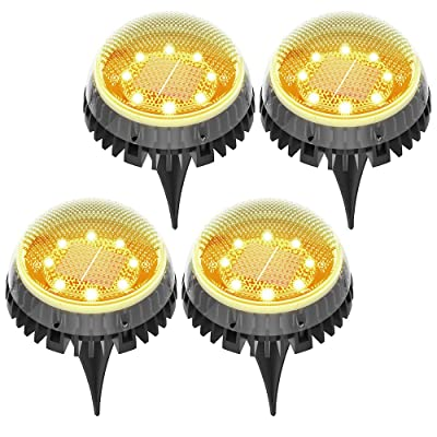 highydroLED Solar Ground Lights Outdoor, 8 LEDs Decoration Solar Powered Disk Pathway Lights, IP67 Waterproof Solar Garden Landscape Lighting for Yard Deck Lawn Patio Walkway Yard -Warm White 4PACK