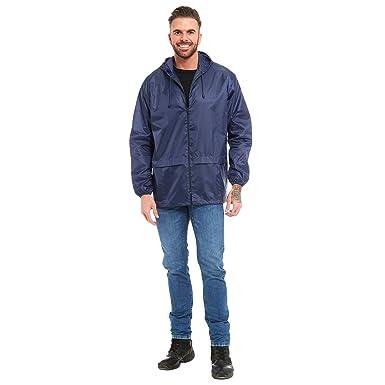 Unisex Plain Kagool Raincoat Mens Womens Ladies Waterproof Summer Hooded  Pack Away Cagoule Lightweight Casual Jacket fc610cd22a