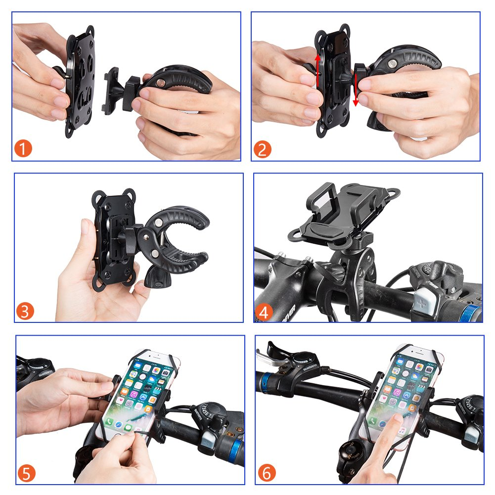 Blue with Black Samsung Galaxy or Smartphone /& GPS . Bike /& Motorcycle Phone Holder,Universal Mountain /& Road Bicycle 360 Degree Handlebar Cradle Mount for iPhone