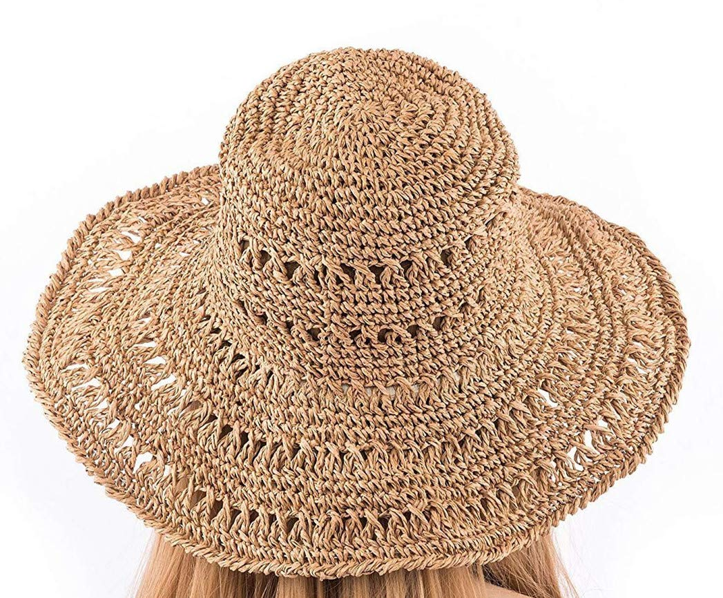"Girls Foldable Floppy Cap for Head Grith 22-23/"" UV Protection Wide Brim HOLLOSPORT Women Fashion Beach Straw Sun Hat 56-58.5cm"