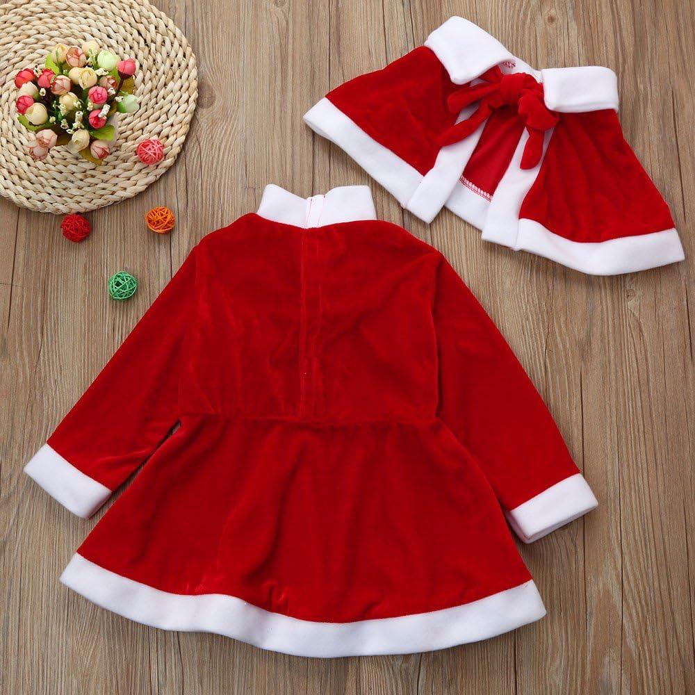 Vestito 1-6 Anni LANSKRLSP Costume da Babbo Natale Inverno 3 Pezzi Costume da Babbo Natale Scialle