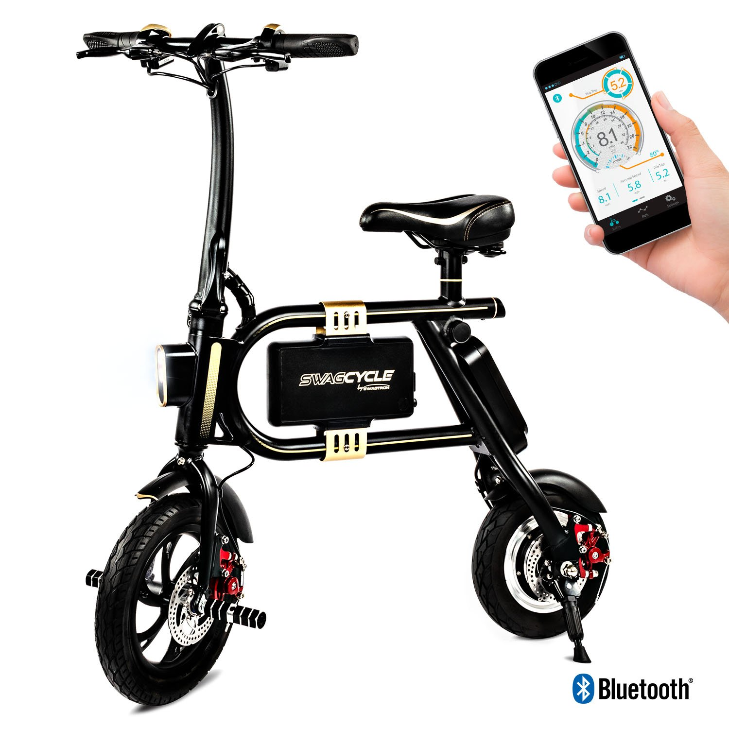 Swagtron E30512-2 SwagCycle Classic E-Bike - Folding Electric Bicycle with 10 Mile Range, Collapsible Frame, and Handlebar Display (Black) by Swagtron