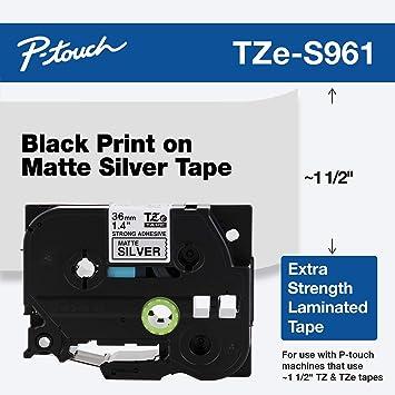 GENUINE Brother TZe-S961 Label Tape Industrial TZeS961 TZS961 36mm Black//Silver