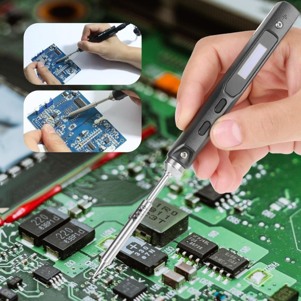 Soldador el/éctrico TS100 DC 12V-24V 65W Mini port/átil digital Soldador el/éctrico de hierro con una llave hexagonal para aplicaciones de electr/ónica y placas de circuito Soldadura