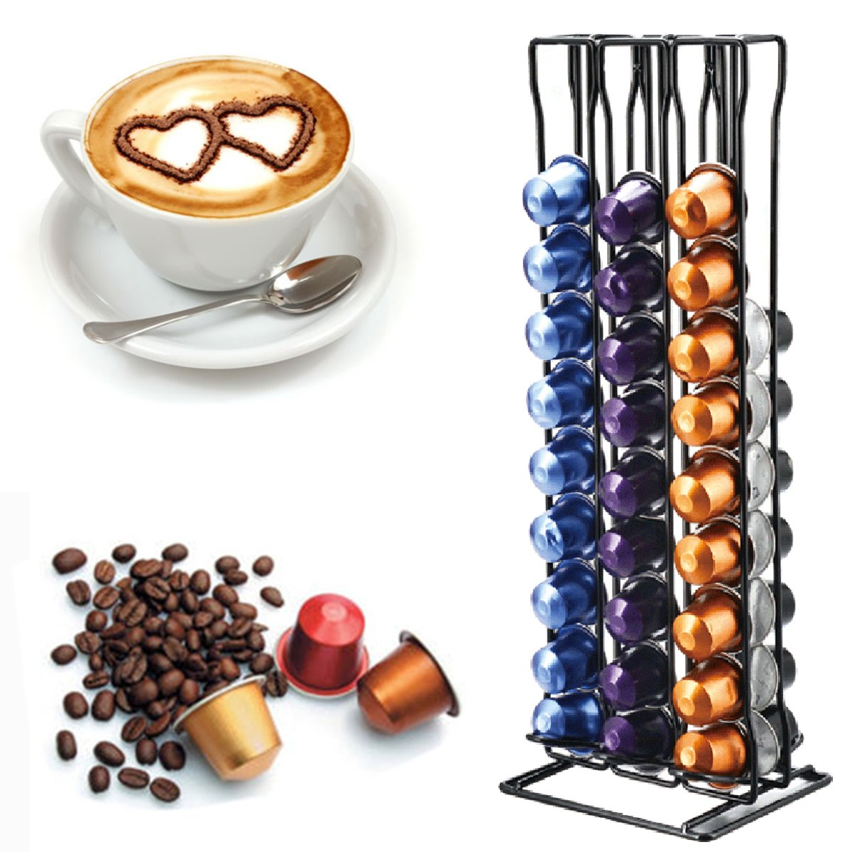 WCHAOEN 60pcs Coffee Capsule Cup Holder Storage Stand Chrome Tower Mount Rack Accessories Tool