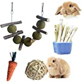 Rabbit Toys 4 in 1.Improve Dental Health. 100% Natural Materials by Handmade.Contains Apple Branches, Licorice Balls…