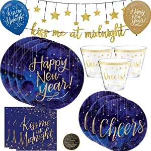 Happy New Years Eve Paper Dinnerware Party Supplies Pack For 16 Guests With Kiss Me At Midnight Glitter Banner, Metallic Blue and Gold Dinner and Dessert Plates, Napkins, Tumbler Cheers Cups NYE Pin