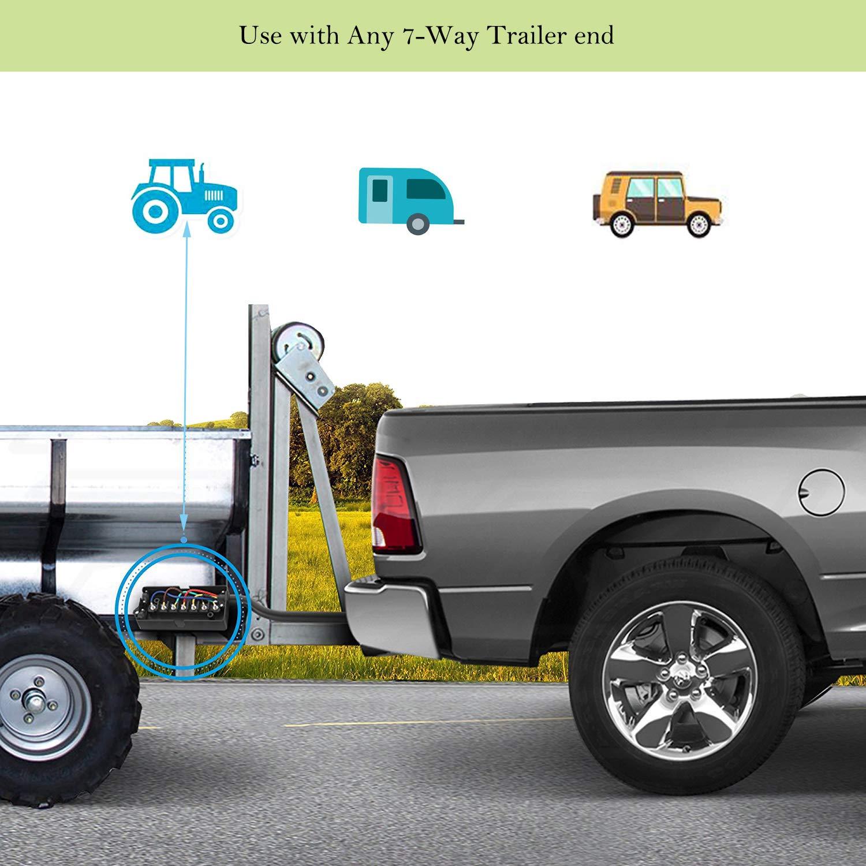 7 Way Trailer Cord, 8 Feet Wide Range of Applications Heavy Duty//Double Prongs//Weatherproof 7 Way Trailer Plug Inline Wire Connector