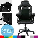 Panorama24 Racing Bürostuhl Gaming Chair Gamer Stuhl, Farbe Schwarz, in 9 Varianten Drehstuhl Schreibtischstuhl Wippmechanik Chefsessel Sportsitz mit gepolsterten Armlehnen