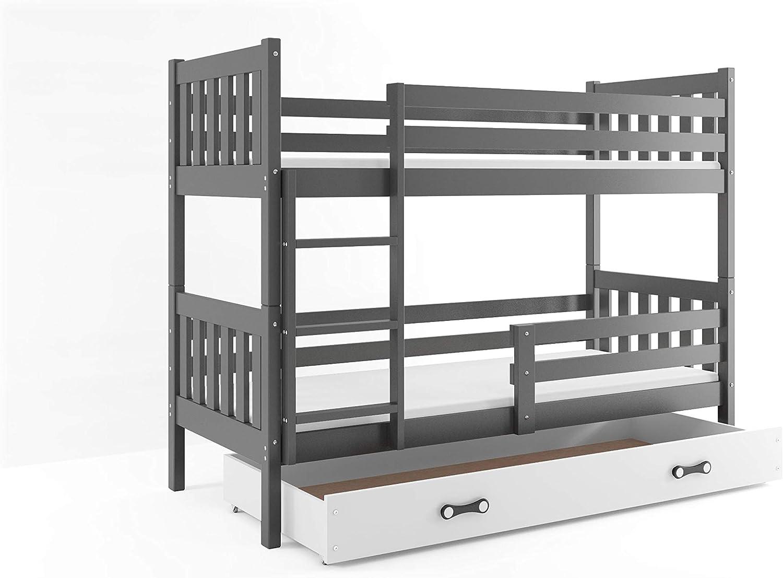 Carino 190 x 90 avec Coffre de Rangement et Matelas en /éponge Interbeds Lit superpos/é pour Enfants