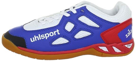 Uhlsport PANTERA Junior 100830501, Scarpe sportive indoor unisex bambino, Blu (Blau (blau/rot/weiss 01)), 29