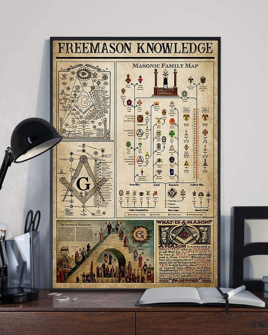 HolyShirts Freemason Knowledge Masonic Family map Poster (16 inches x 24 inches)