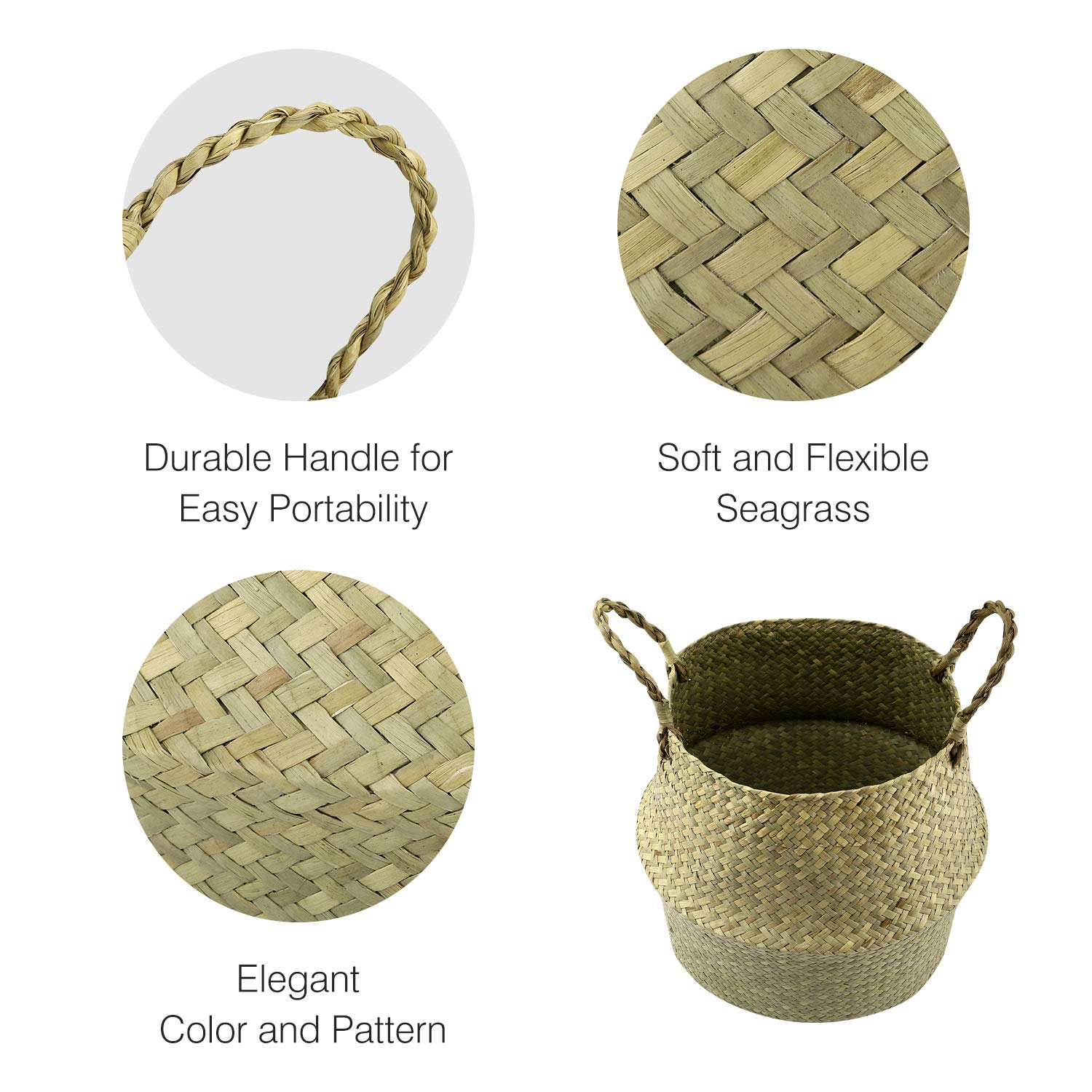 Black Lewondr Natural Seagrass Belly Basket 31cm Collapsible Handmade Plant Pot Planter Floral Texture Weave Tote Basket with Handle for Storage Laundry Home Picnic Natural