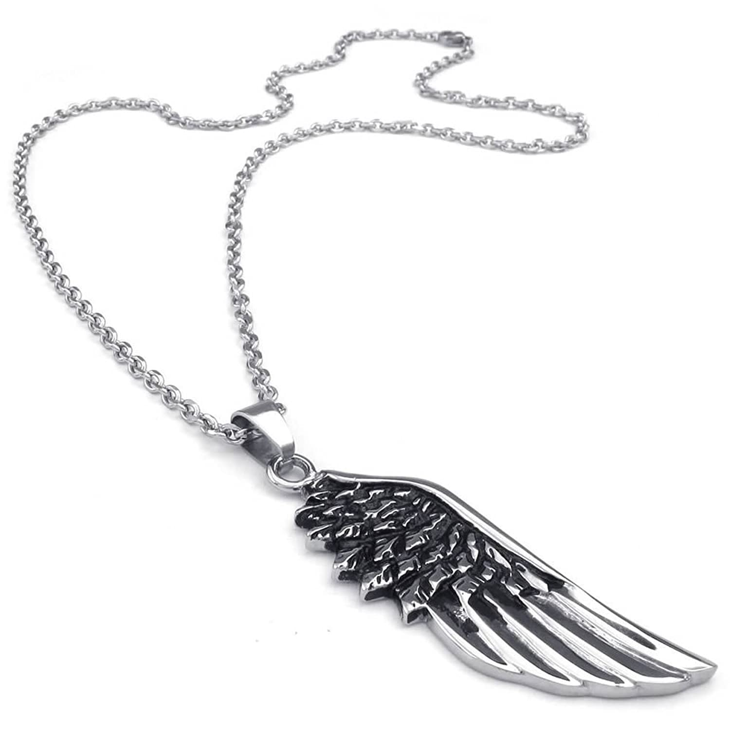 c5b2da83907c AnaZoz Stainless Steel Black Silver Mens Pendant Necklace Angel Wing ...