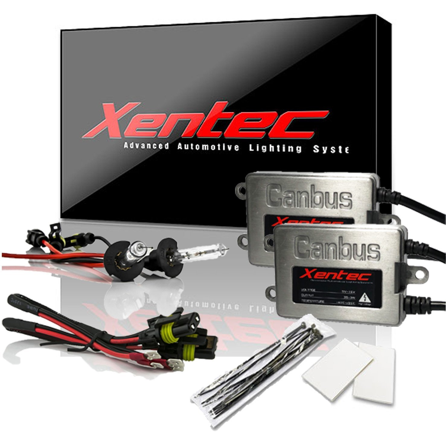 ultra white Xentec Xenon bulb H3 6000K bundle with 45W Error Free Slim CANBUS Ballast