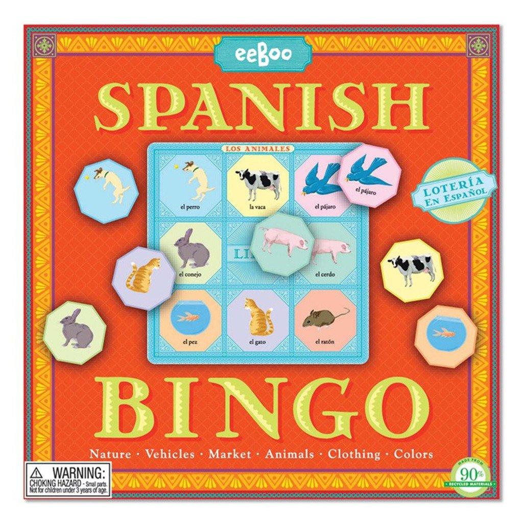 eeBoo Spanish Bingo Game-Spanish Learning Toys for Kids