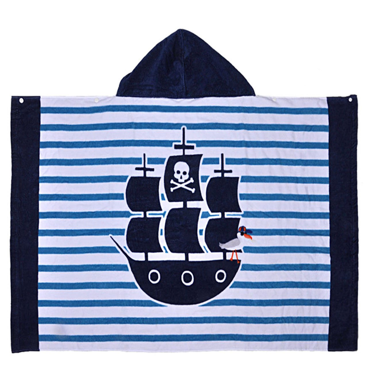 Pirate Ship Kid Bath Poncho Towel for 1-6 Years Boys Adorable Print Highly Absorbent and Ultra Soft 30.3X 48.8 Inches Cotton Pullover Towel with Snap for Bath//Pool//Beach//Summer