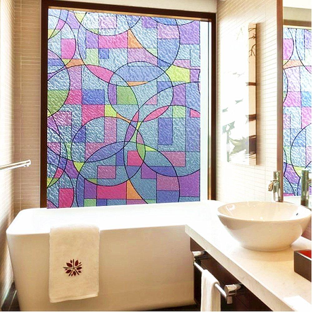 Concus-T Elettricit/à Statica Nessun Adesivo Vinile Premio Decorativo Bicchiere Pellicole per Vetri con LArte Geometrica Colorata 90cmx200cm