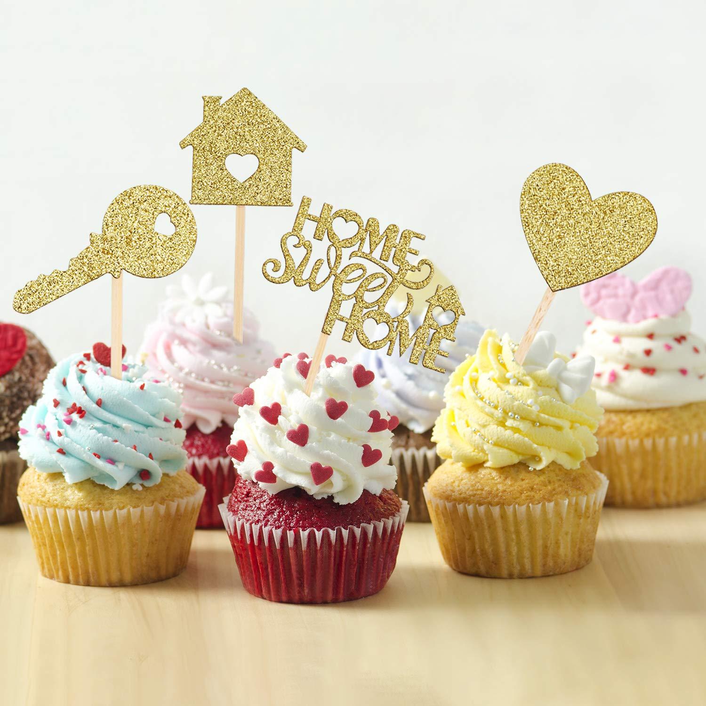 55 Pi/èces Cupcake Toppers de Maison Douce Cupcake Toppers de Maison /à Paillettes en Or Cupcake Toppers de Cr/émaill/ère de Nouvelle Maison D/écorations de F/ête de Nouvelle Maison Bienvenue