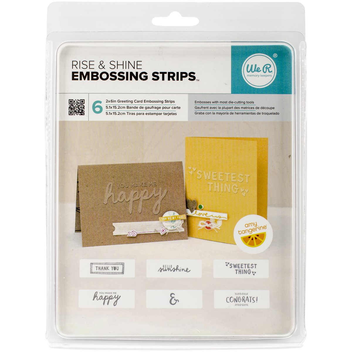 American Crafts We R Memories 6 Piece Amy Tan Embossing Strips Phrases, 6 x 2, Rise & Shine by American Crafts B00VSLLEZU