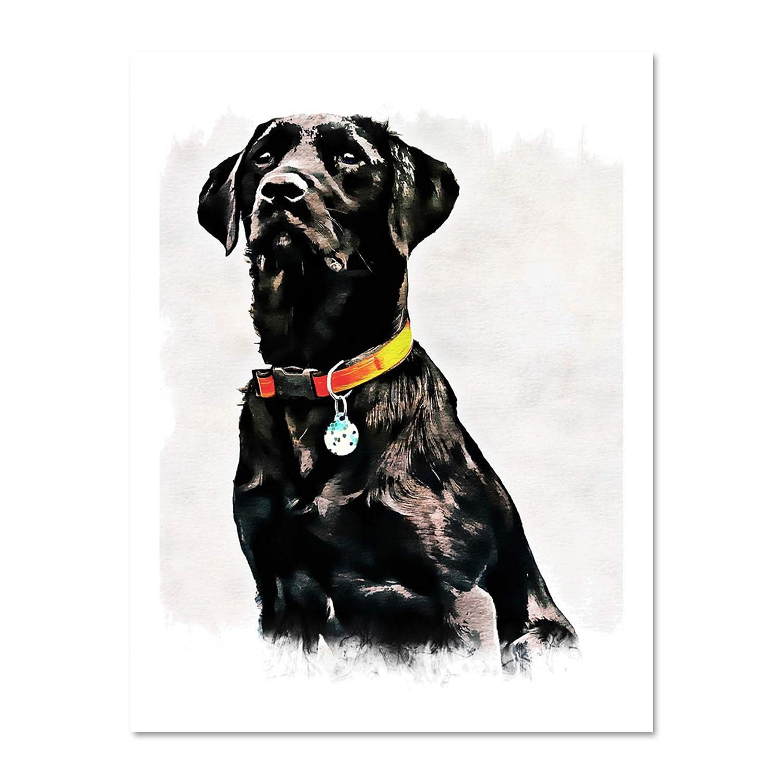 PHOTO PAINTING PET BLACK LABRADOR RETRIEVER DOG CUTE LARGE PRINT POSTER LF1692