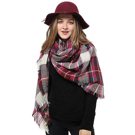 5fce792054d Blanket Scarf for Women Square Plaid Scarf Womens Winter Tartan Scarf Wrap  Shawl