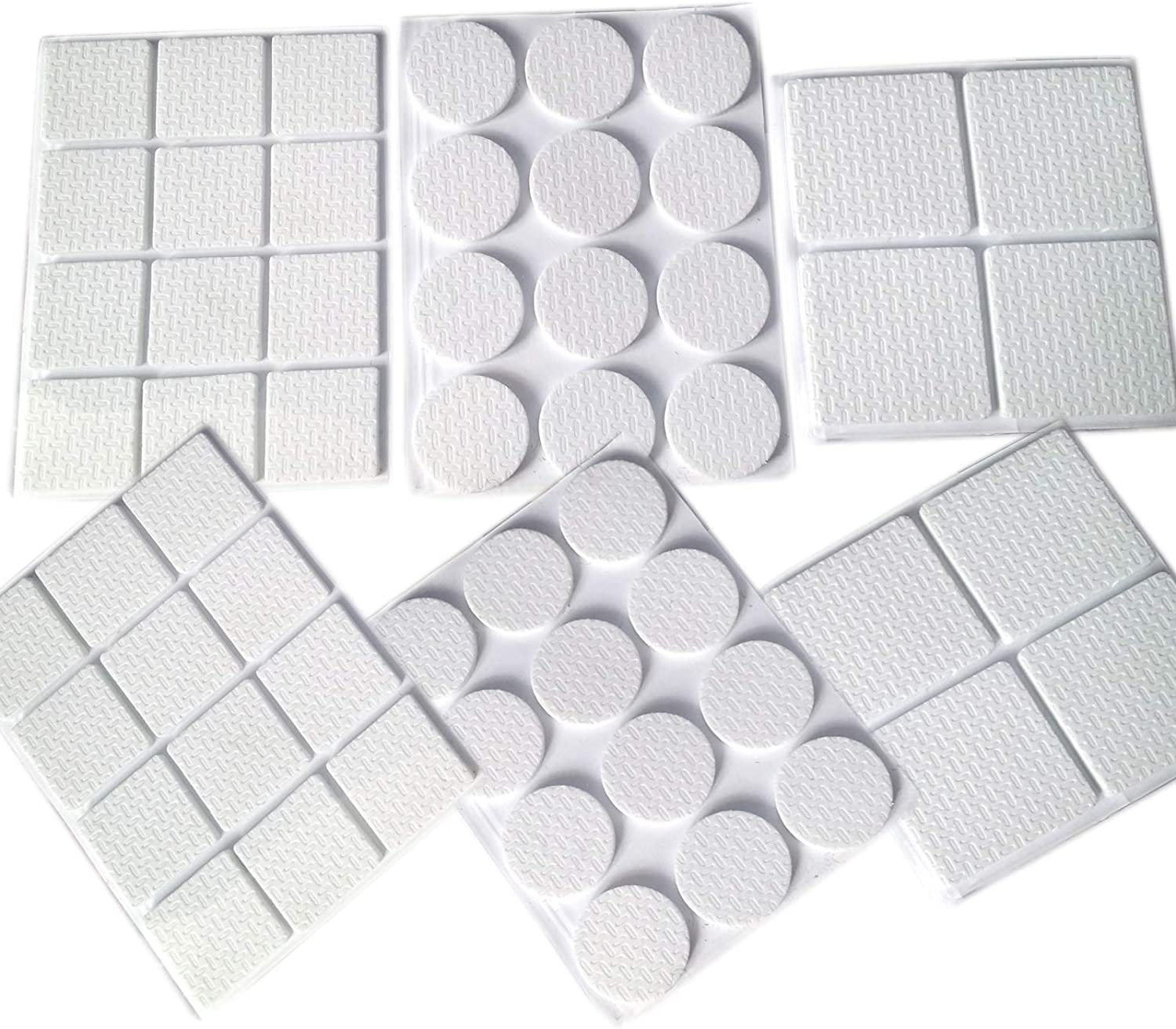 24 ROUND PADS 56 ANTI-SKID MULTI-PURPOSE FURNITURE // FLOOR PROTECTOR RUBBER PADS 8 LARGE SQUARE PADS. 24 SMALL SQUARE PADS