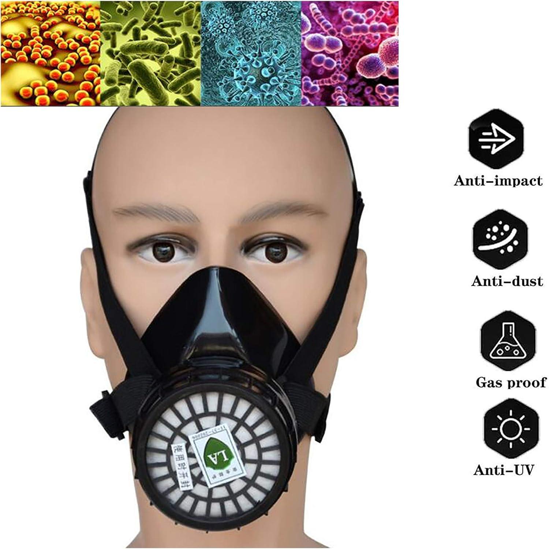 WFGZQ Máscara de Gas, Máscara de Polvo de Pintura en Aerosol Máscara Protectora Máscara elástica Estirable Válvula de Salida de Aire Doble 1 PC, con función de Gas antitóxico