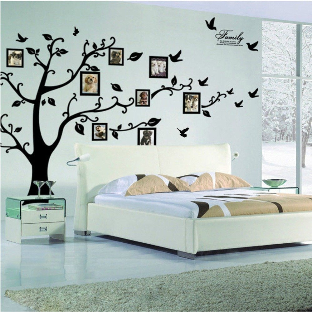 Amazon the memories quotes wall decor with 10 photo frames large family tree wall decal peel stick vinyl sheet easy to install amipublicfo Image collections
