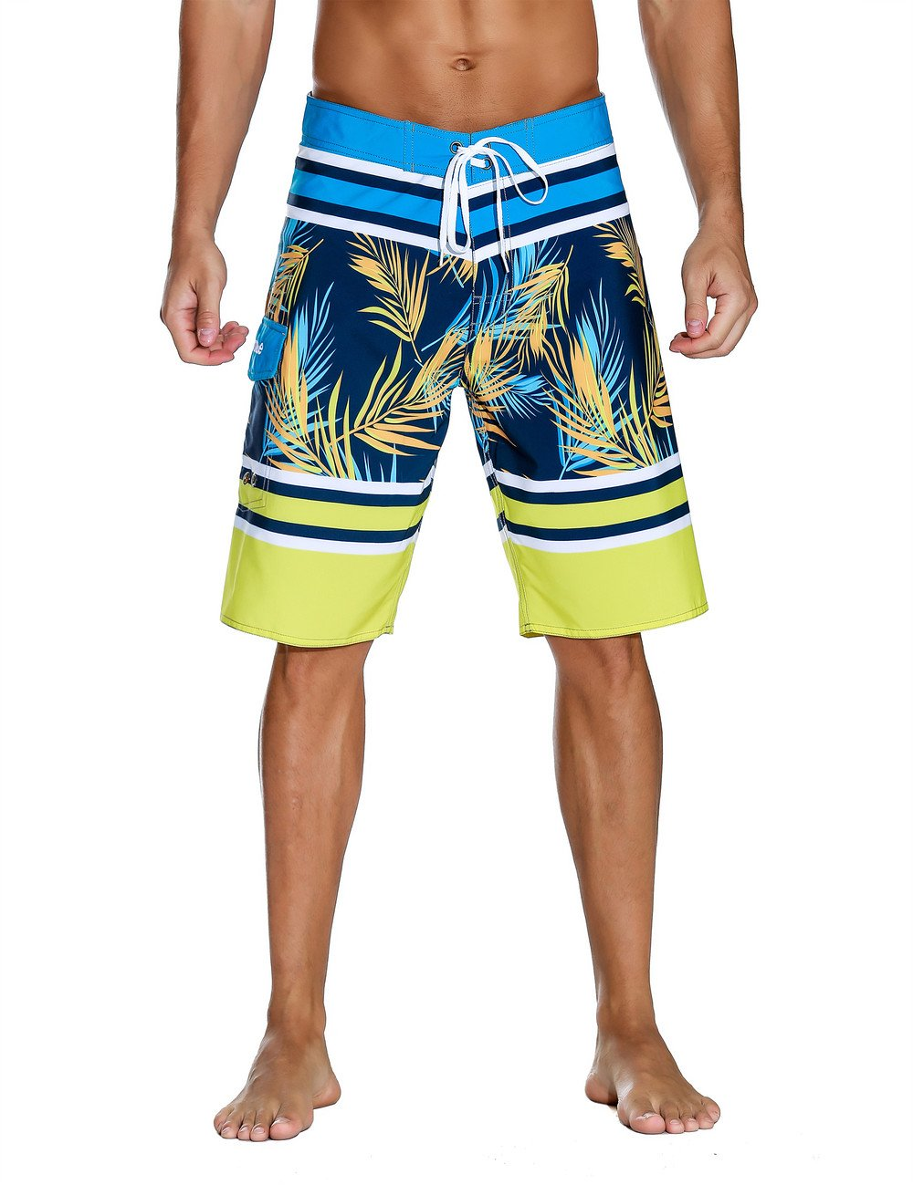 Nonwe Men's Swimwear Grid Printed Quick Dry Swim Shorts with Lining Yellow 38