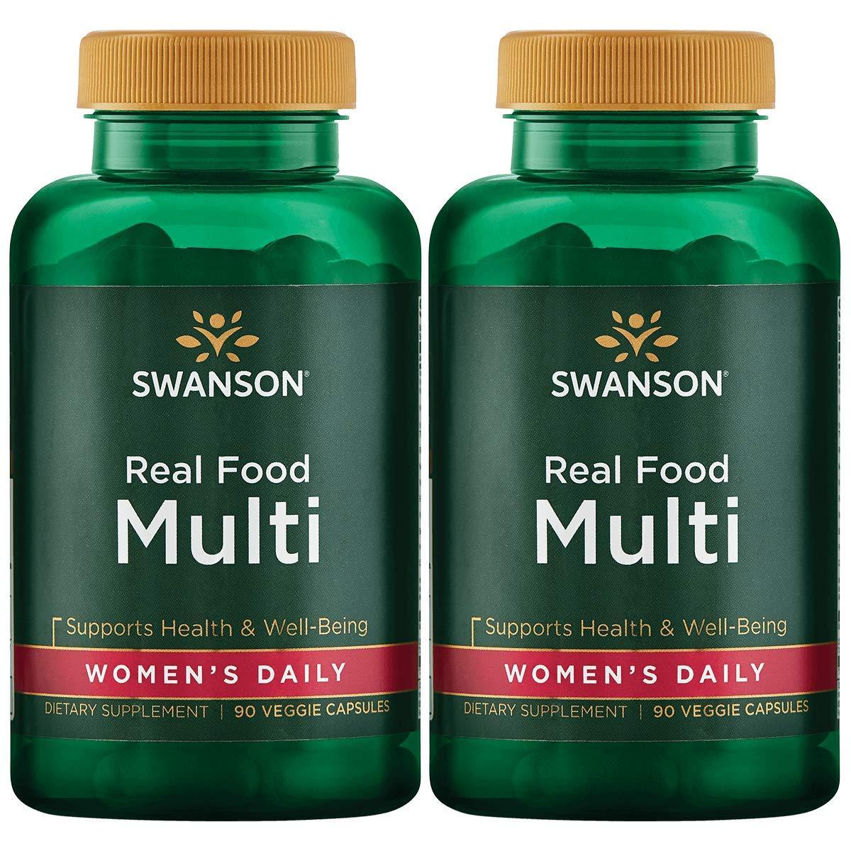 Real Food Multi Women's Multivitamin Multimineral Women's Health Urinary Tract Stress Response Bone Hair Skin Nails Support Supplement Vegan Gluten-Free Non-GMO 90 Veggie Capsules Veg Caps (2 Pack)